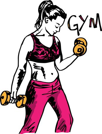 sketch-of-a-woman-working-out-at-the-gym-with-dumbbell-weight
